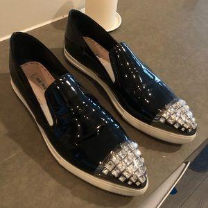 Miu Miu black patent cap toe sneakers w/ crystals